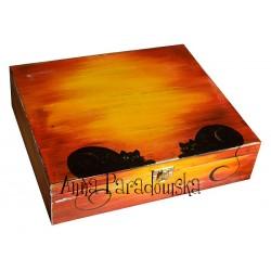 """Pudełko drewniane na herbatę """"ogniste"""""""