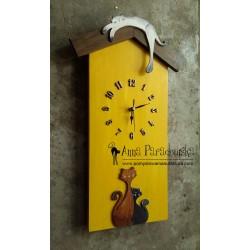 Zegar domek żółty